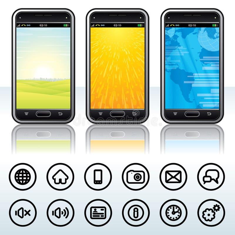 Smartphone con los iconos del contorno ilustración del vector