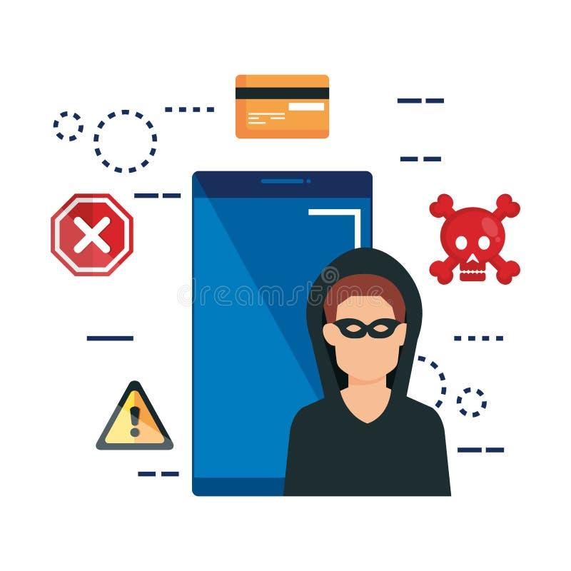 Smartphone con los iconos del pirata informático y del sistema libre illustration