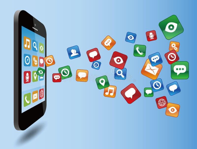 Smartphone con los iconos del uso stock de ilustración