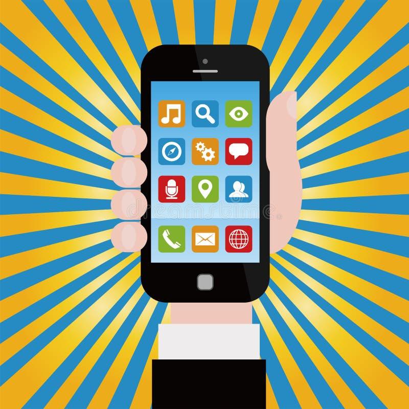 Smartphone con los iconos del uso libre illustration