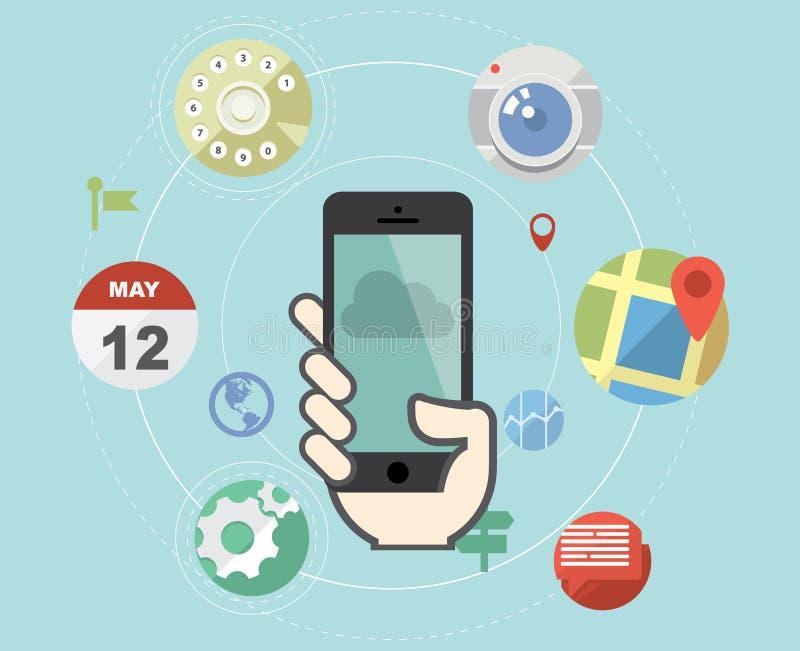 Smartphone con los iconos planos ilustración del vector