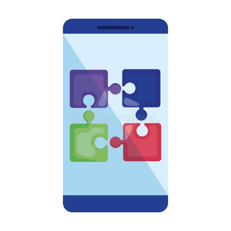 Smartphone con los pedazos del rompecabezas libre illustration