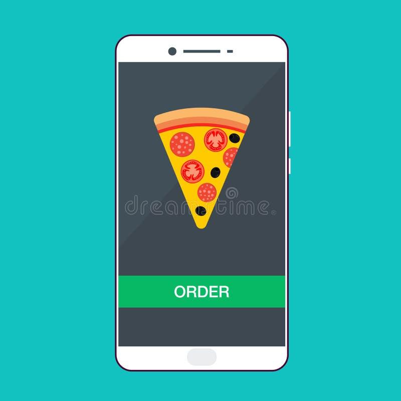Smartphone con pizza sullo schermo Concetto degli alimenti a rapida preparazione di ordine Illustrazione piana di vettore illustrazione di stock