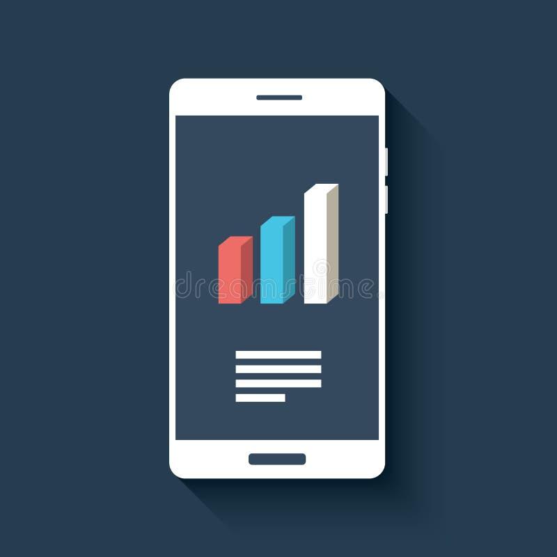 Smartphone con símbolo de los gráficos y de las cartas de negocio ilustración del vector