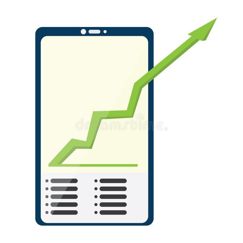 Smartphone con un gráfico de negocio ilustración del vector