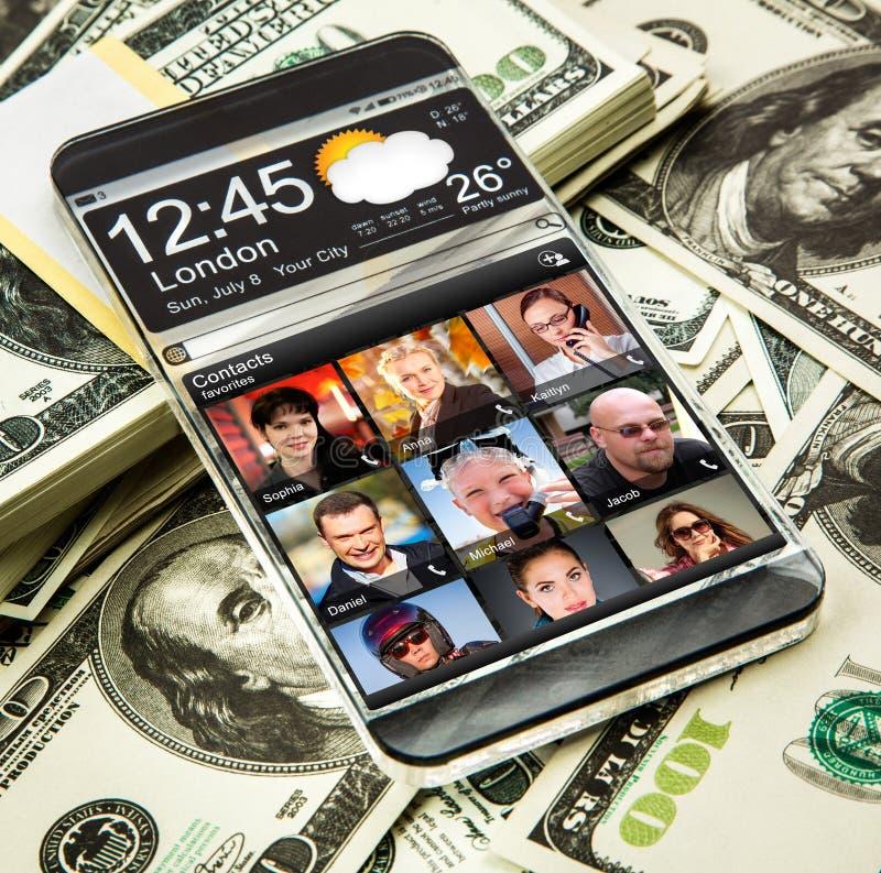 Smartphone con una exhibición transparente imágenes de archivo libres de regalías