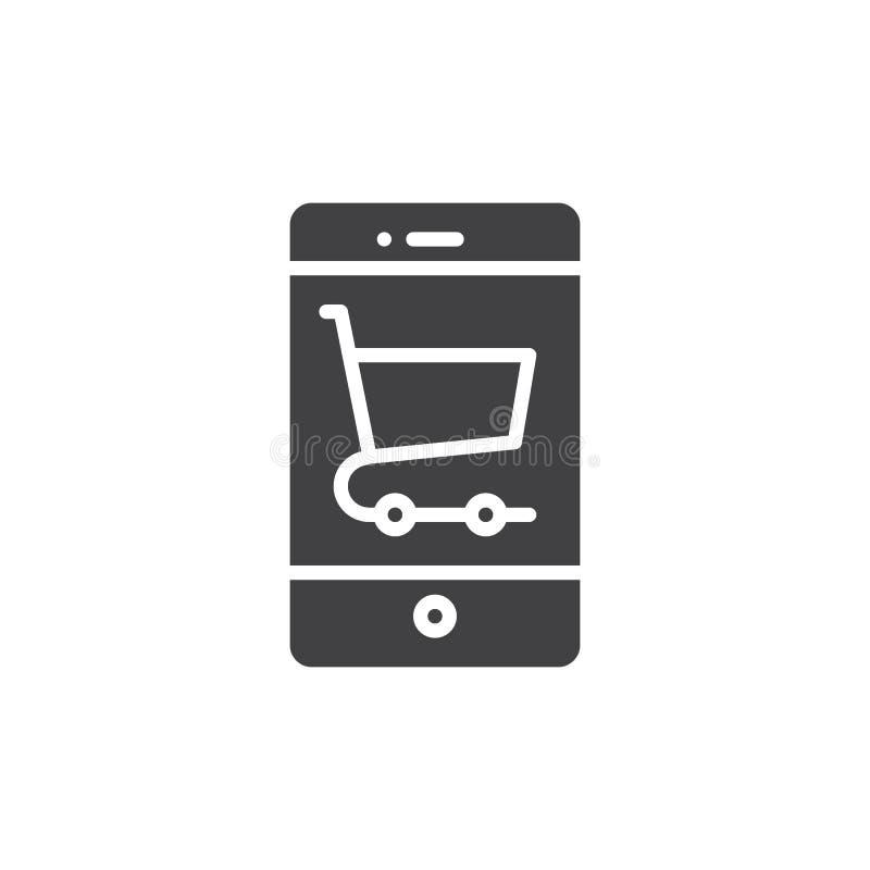 Smartphone con vector del icono del carro de la compra ilustración del vector