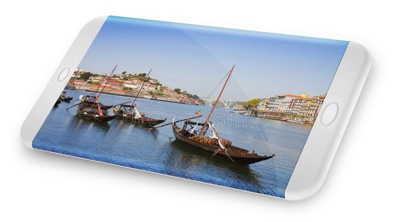 Smartphone concept with 3D render of a typical portuguese boats used in the past to transport the famous port wine Portugal.  royalty free illustration