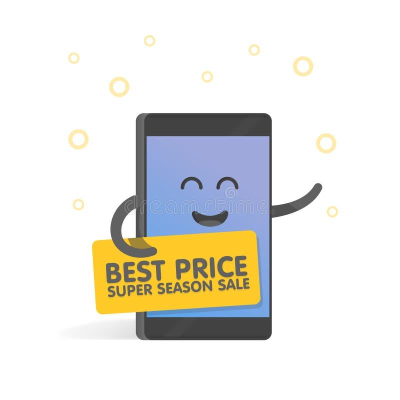 Smartphone-concept die verkoop en kortingen aankondigen, en banner houden De leuke telefoon van het Beeldverhaalkarakter met hand stock illustratie