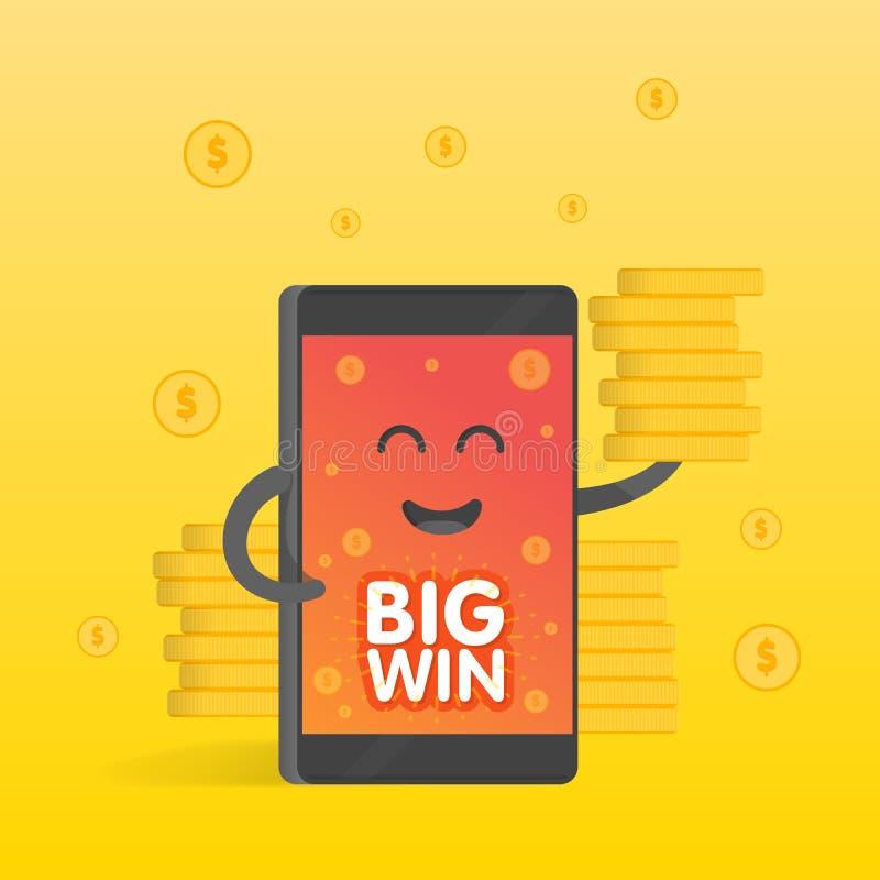 Smartphone-concept geldinkomens, heel wat muntstukken Achtergrond van de gelddalingen De leuke telefoon van het beeldverhaalkarak vector illustratie