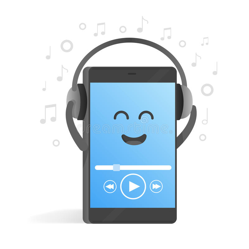 Smartphone concept of listening to music on headphones. Background of notes. Cute cartoon character phone with hands, eyes and vector illustration