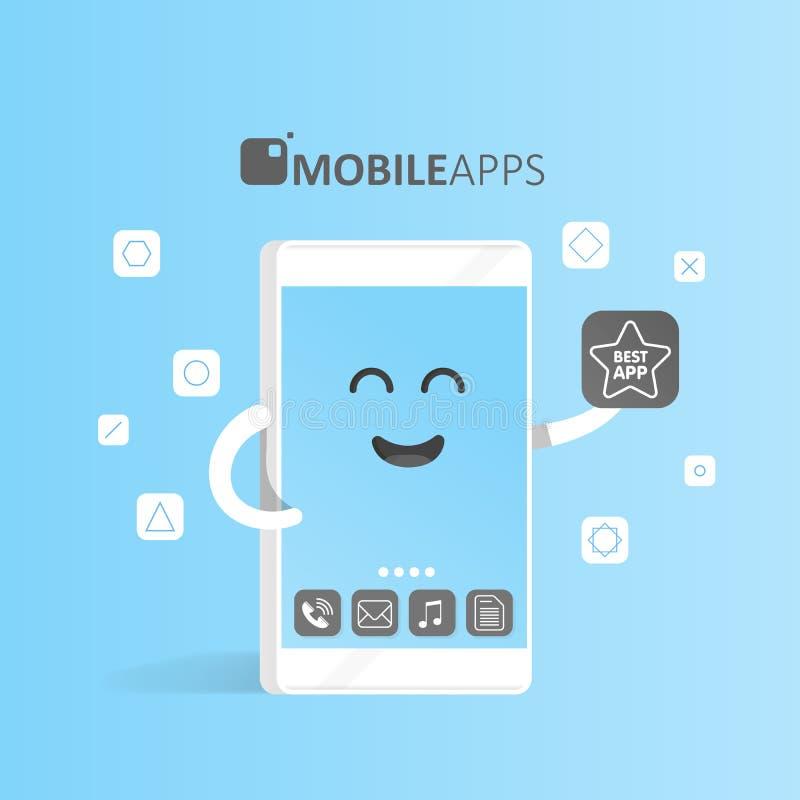 Smartphone-concept online app markt, aankoop, presentatie en selectie van toepassingen De leuke telefoon van het Beeldverhaalkara stock illustratie