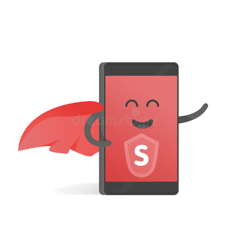 Smartphone-concept superhero met een rode kaap De leuke telefoon van het Beeldverhaalkarakter met handen, ogen en glimlach vector illustratie