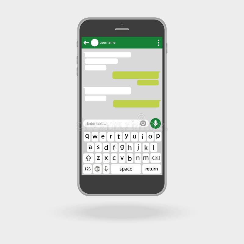 Smartphone Concepto social de la red Vector Ventana del mensajero Rectángulos verdes de la charla libre illustration
