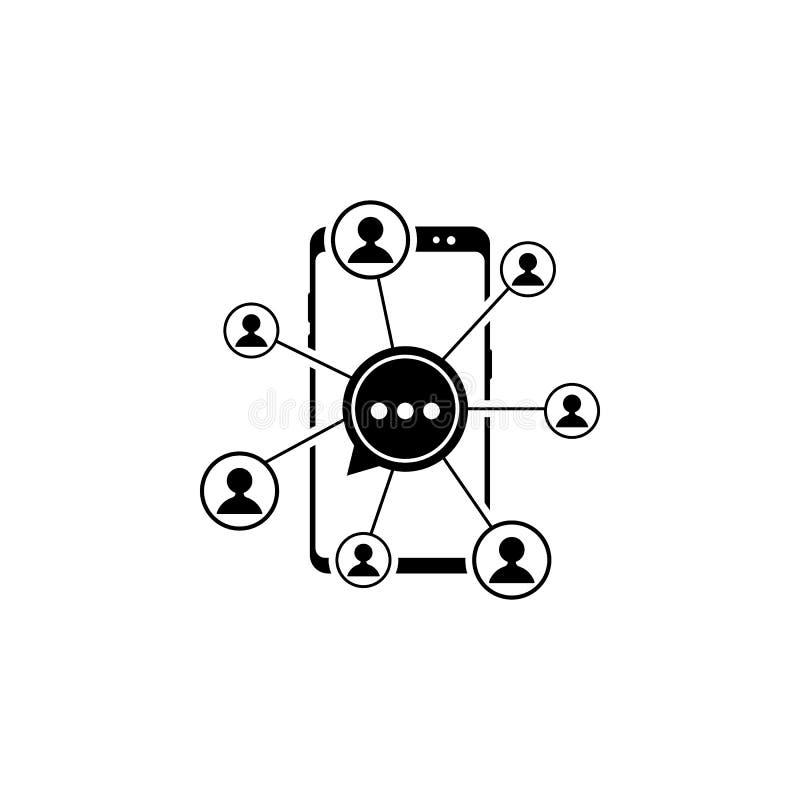 smartphone, conexión, icono del vector de los usuarios para las páginas web y diseño plano minimalistic móvil stock de ilustración