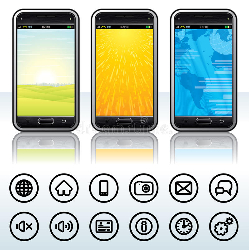 Smartphone with Contour Icons vector illustration