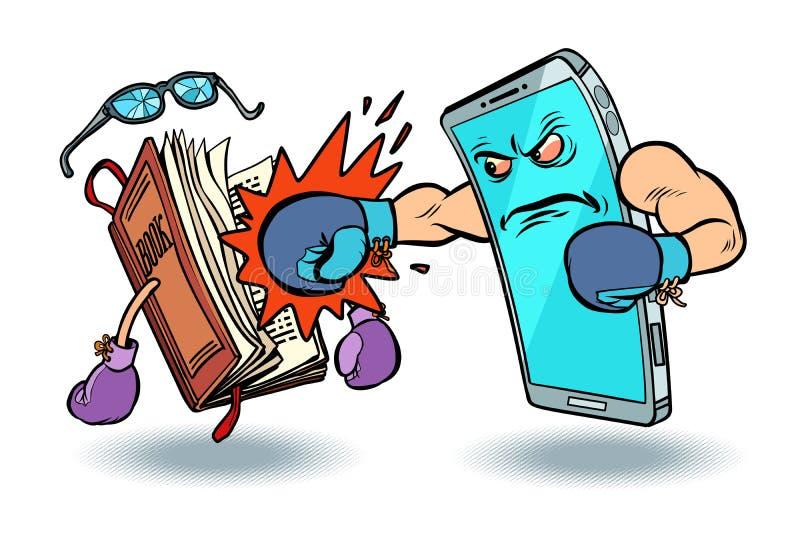 Smartphone contre le livre hostilité de concept de technologie et de culture illustration de vecteur