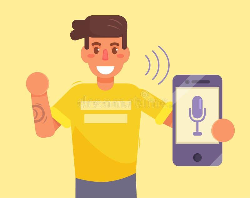 Smartphone Control de la voz stock de ilustración