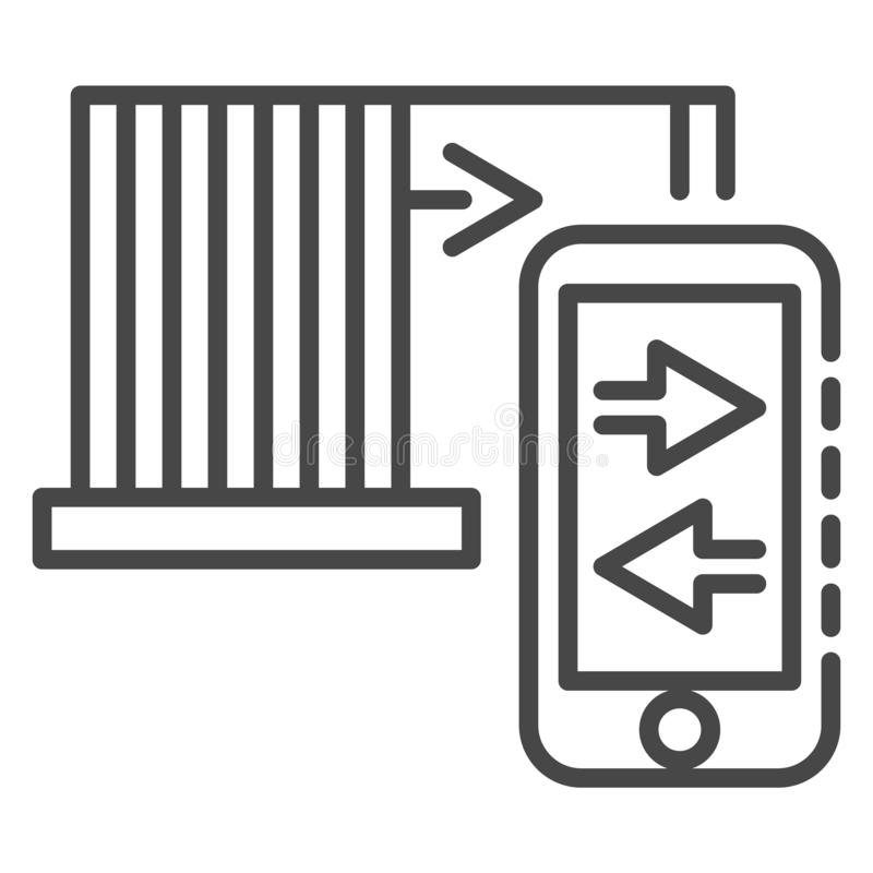 Smartphone control icon, outline style royalty free illustration