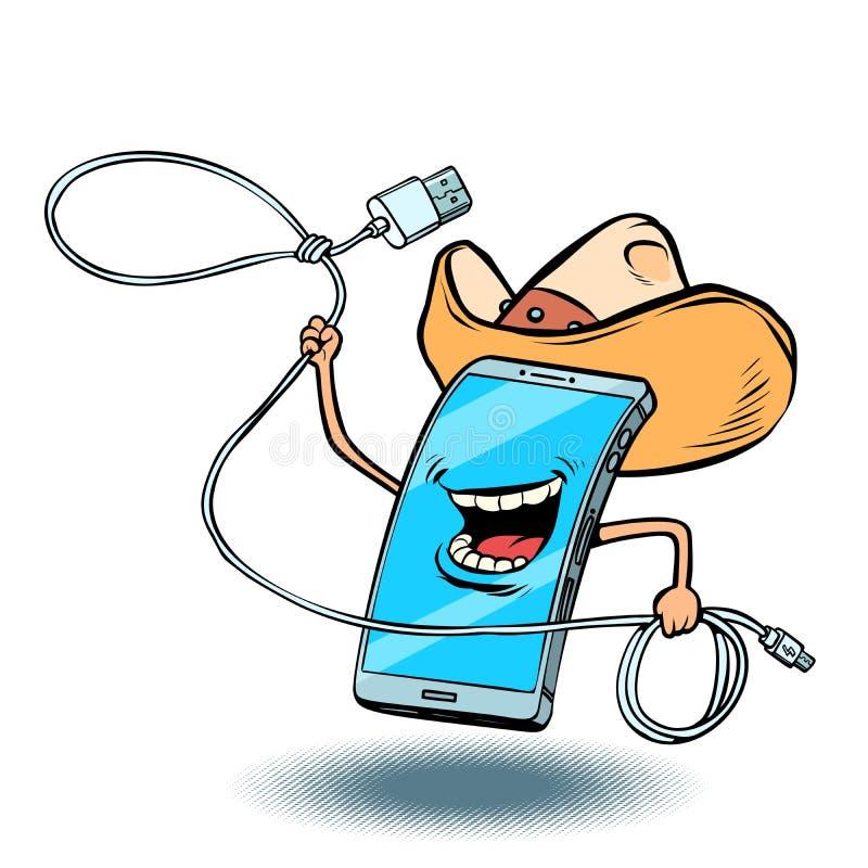 Smartphone cowboy character vector illustration