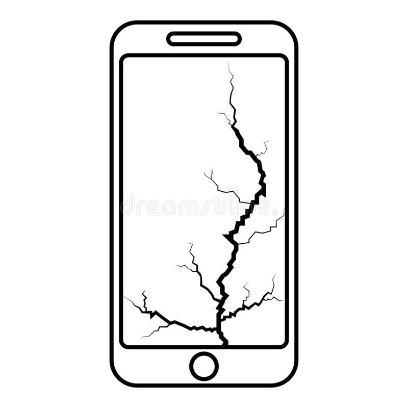 Smartphone with crack on display Broken modern mobile phone Shattered smartphone screen Phone with broken matrix of screen Cell royalty free illustration