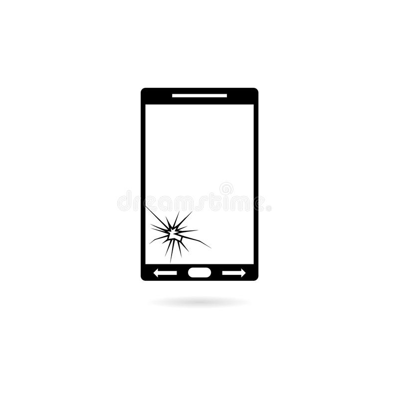 Smartphone with crack on display Broken modern mobile phone. On white royalty free illustration