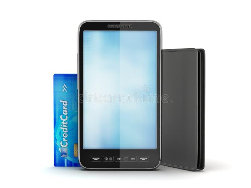 Download Smartphone, Credit Card And Leather Wallet Stock Illustration - Illustration of debt, deal: 39510456