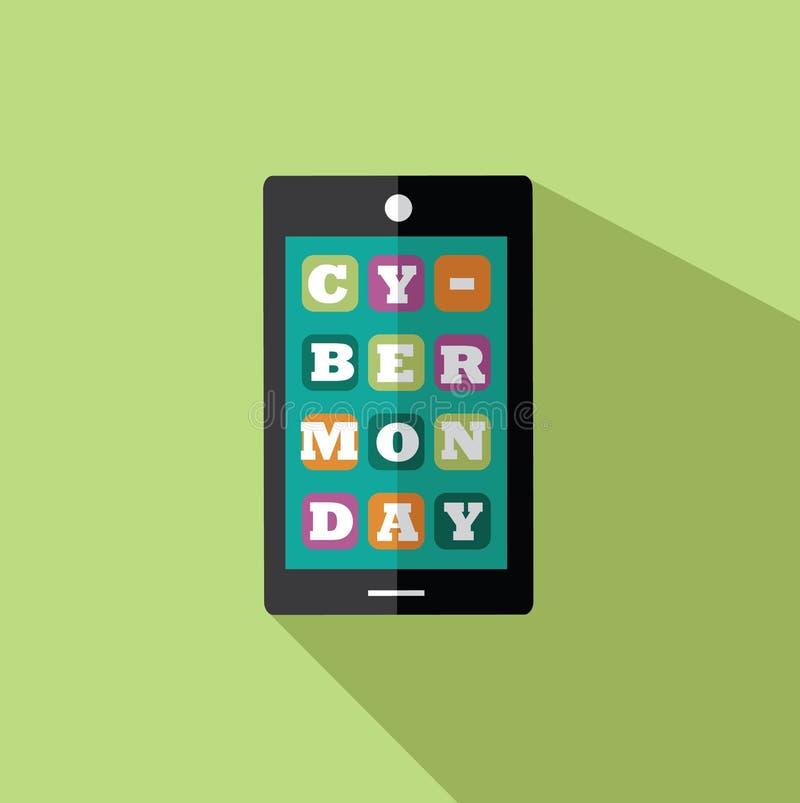 Smartphone cyber di lunedì di progettazione piana illustrazione di stock