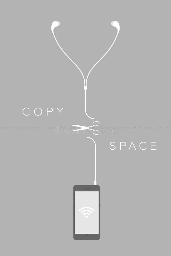 Smartphone czerni koloru płaski projekt i słuchawki depeszujemy cięcie ilustracja wektor