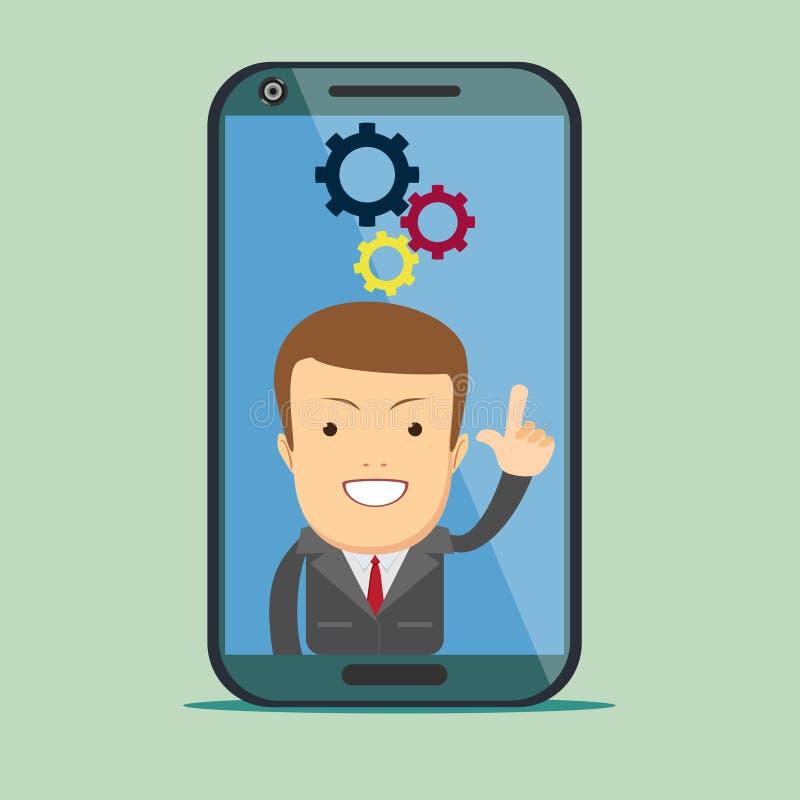 Smartphone d'écran avec l'assistant virtuel - homme d'affaires illustration libre de droits