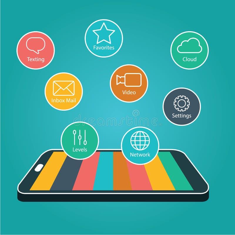 Smartphone d'écran tactile avec des graphismes d'application , Téléphone intelligent avec Apps illustration libre de droits