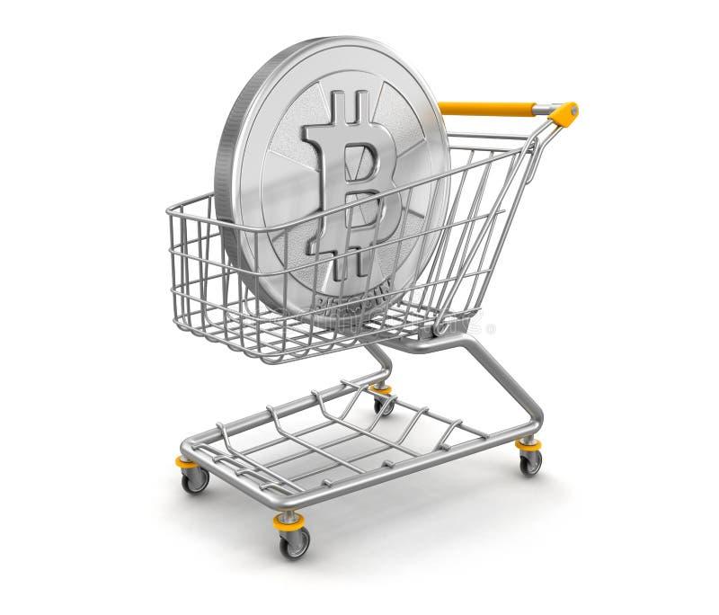 Smartphone d'écran tactile avec le chariot signShopping et le Bitcoin du dollar illustration de vecteur