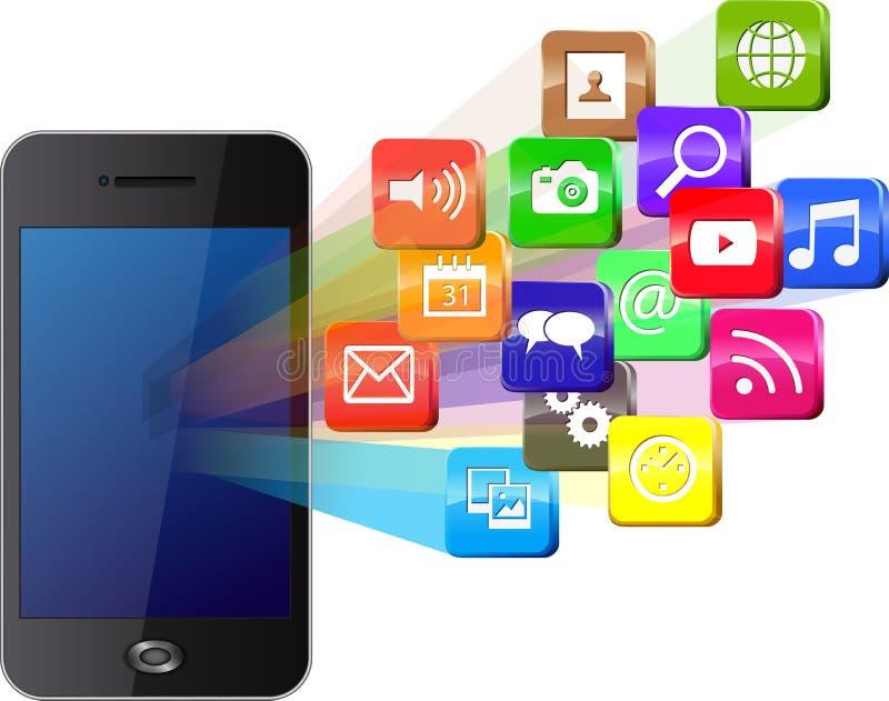 Smartphone d'écran tactile avec le nuage des icônes colorées d'application illustration de vecteur