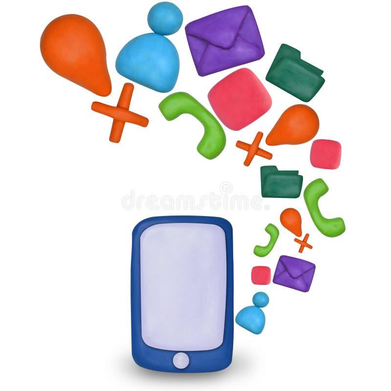 Smartphone d'écran tactile de pâte à modeler avec des icônes d'application illustration stock