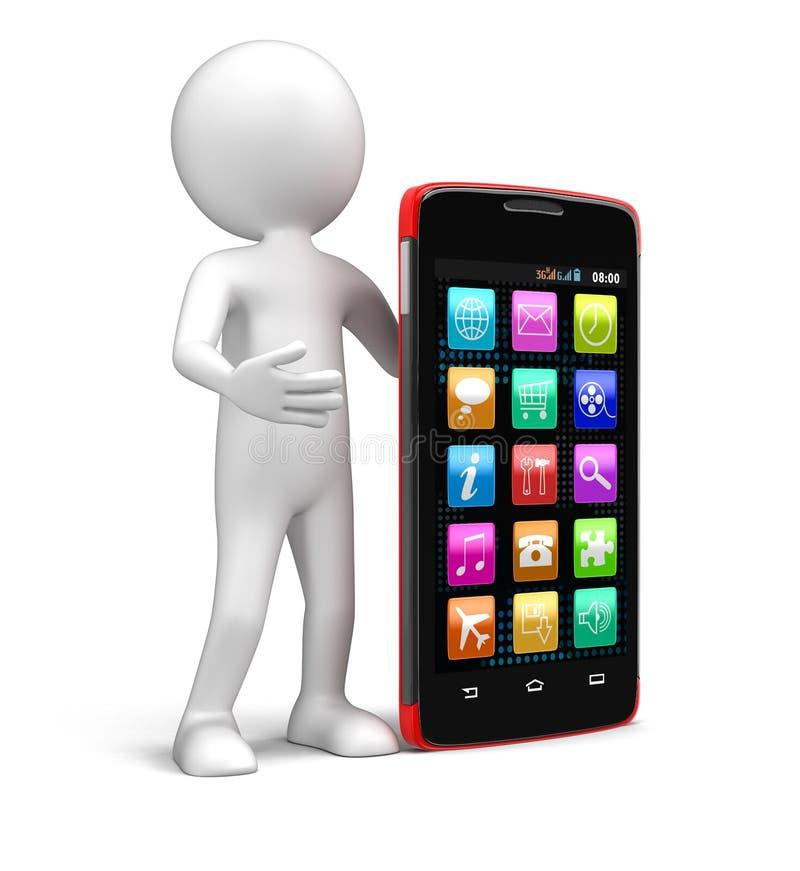 Smartphone d'écran tactile et homme (chemin de coupure inclus) illustration de vecteur