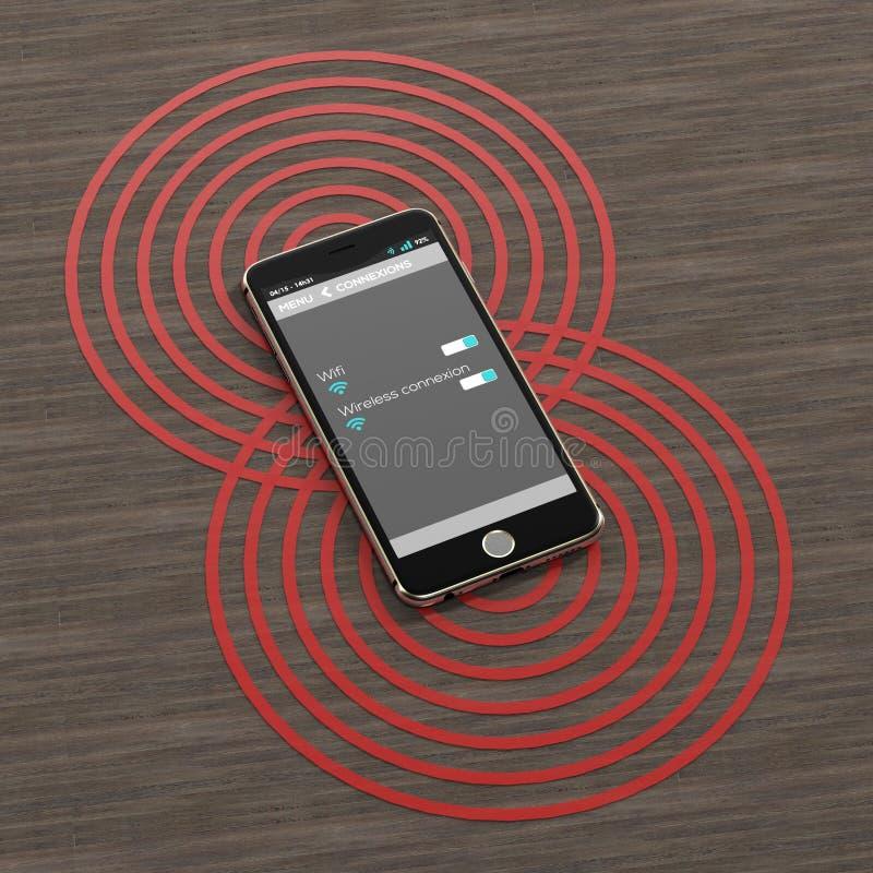 smartphone 3D con peligro de las ondas en backgroung de madera libre illustration