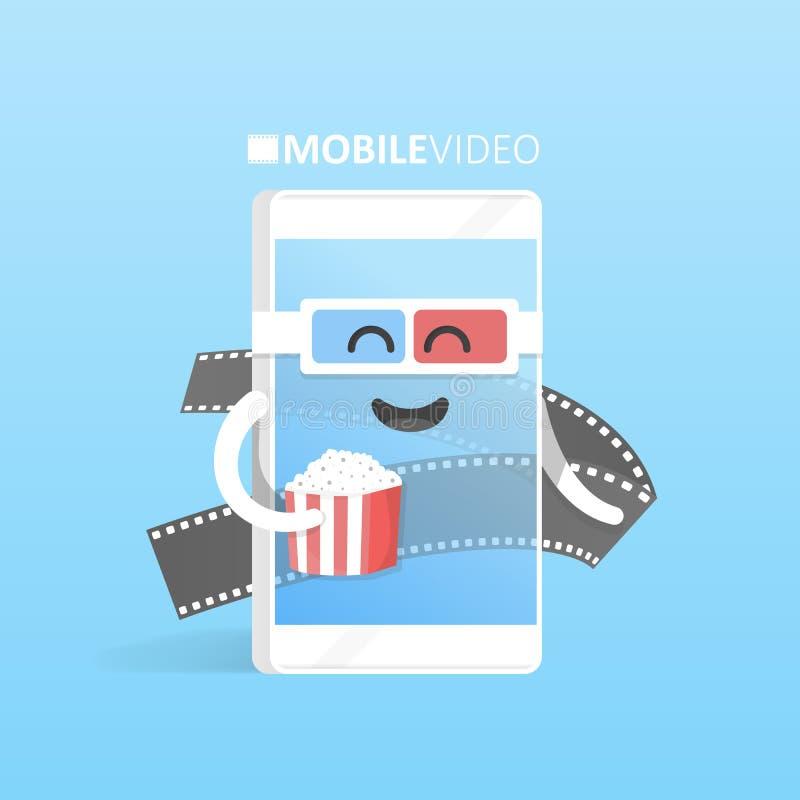 Smartphone 3d exponeringsglas med popcornbegrepp håller ögonen på videoonline-filmbiografen Gullig telefon för tecknad filmtecken stock illustrationer