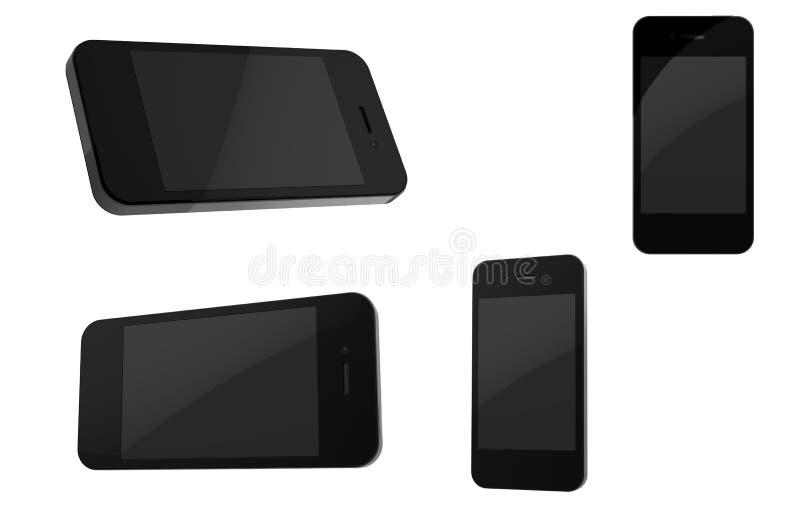 Smartphone 4 3d neri fotografia stock libera da diritti