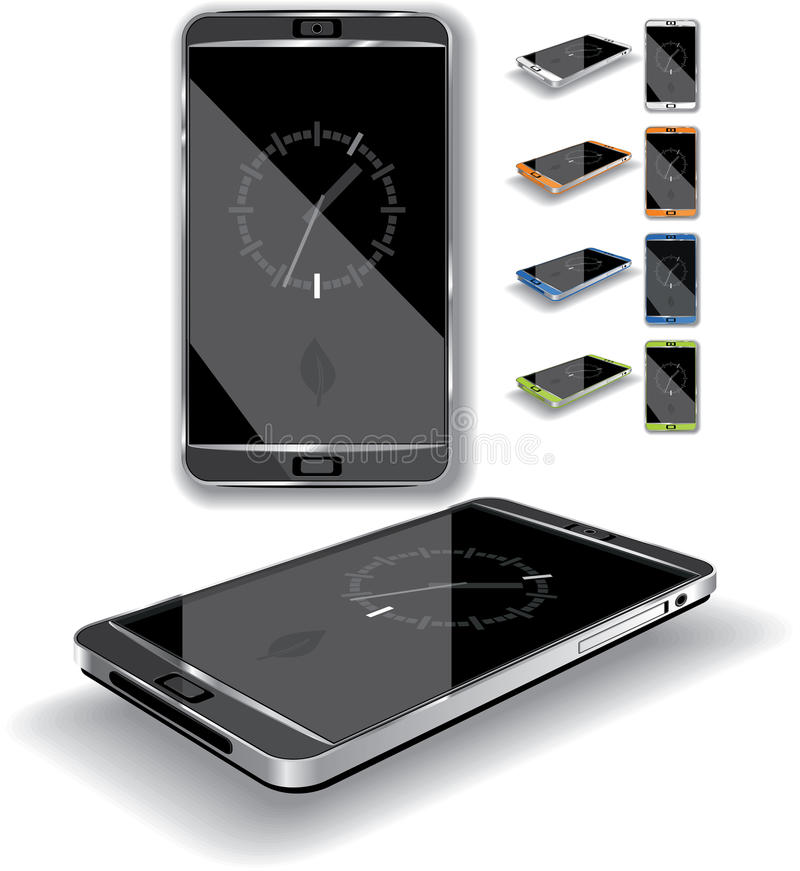 Smartphone 3D. Vector illustration of a touch-screen smartphone. Multiple color choices, generic elegant, glossy design. AI8 vector file included vector illustration
