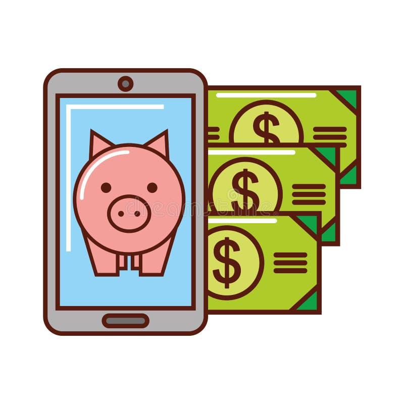 Smartphone da cédula do dinheiro de mealheiro do negócio ilustração do vetor