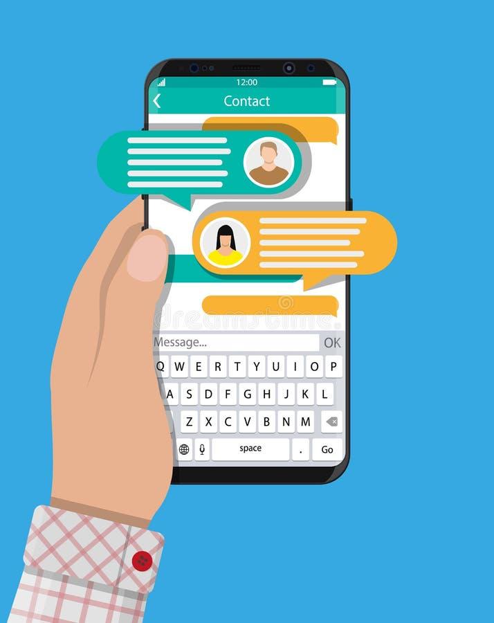 Smartphone da posse da mão com sms app da mensagem ilustração stock