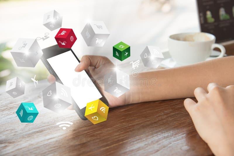 Smartphone da tela tocante da mão ƒ social do ¹ do mediaà da tecnologia fotos de stock