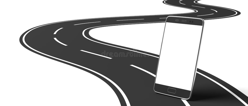 Smartphone da tela vazia na estrada asfaltada de enrolamento, fundo branco, isolado, entalhe, espaço para o texto ilustração 3D ilustração stock