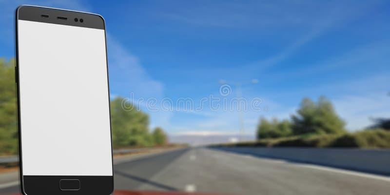 Smartphone da tela vazia, quadro de avisos, no fundo da estrada asfaltada do borrão, espaço para o texto ilustração 3D ilustração royalty free