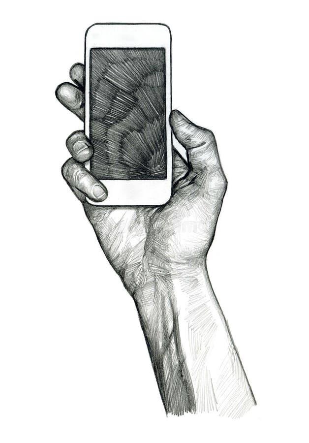Smartphone da terra arrendada da mão ilustração do vetor