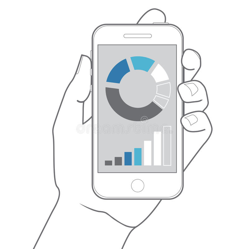 Smartphone da terra arrendada da mão Projeto liso do vetor ilustração do vetor