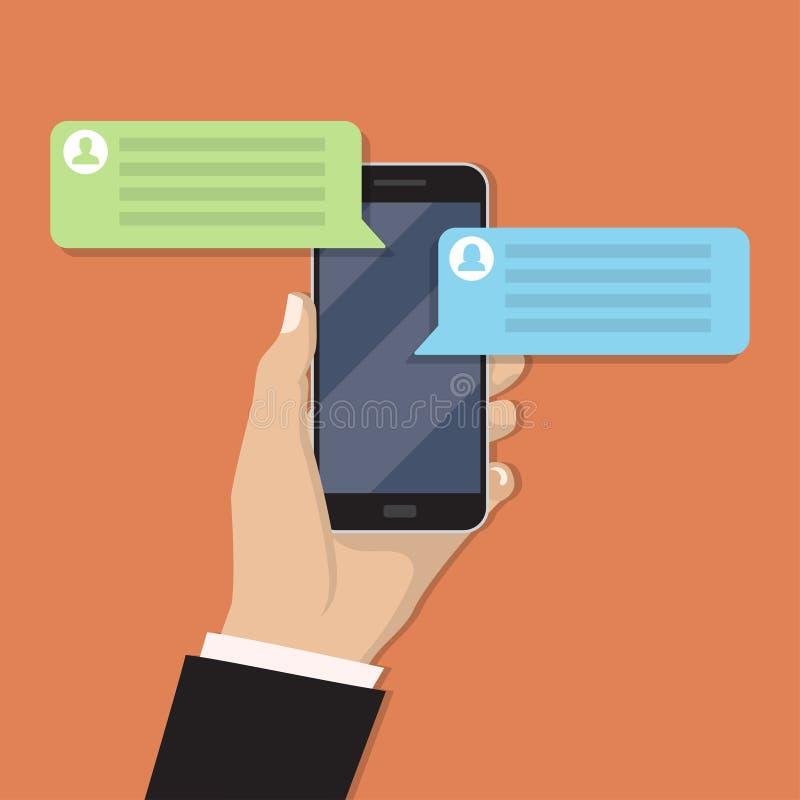 Smartphone da terra arrendada da mão com mensagem do bate-papo em um projeto liso ilustração stock