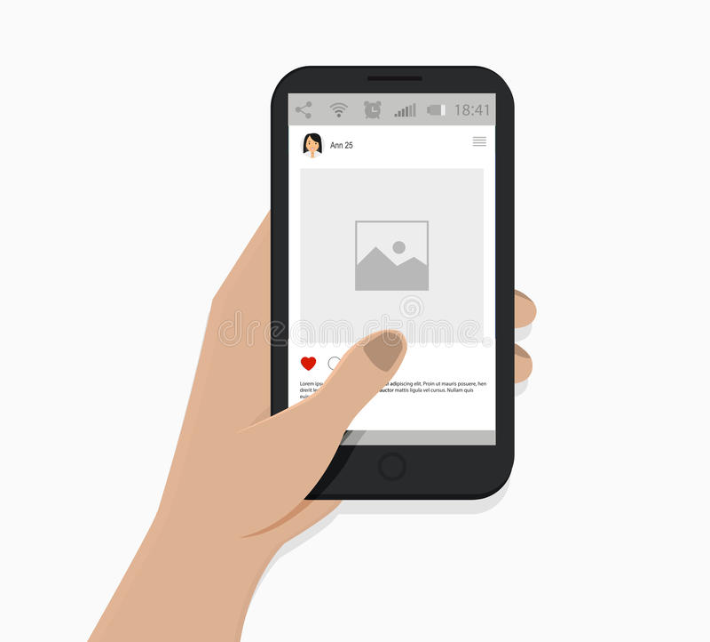 Smartphone da terra arrendada da mão Ilustração do vetor Fundo branco Conceito social da rede ilustração do vetor