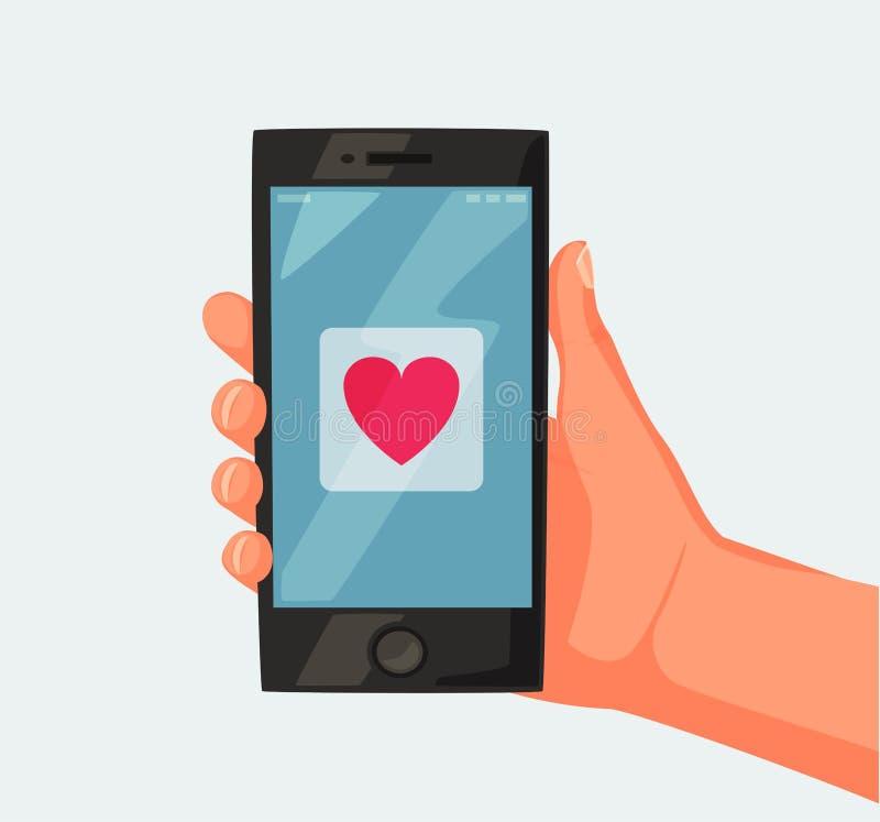 Smartphone da terra arrendada da mão Tela com coração Ilustração dos desenhos animados do vetor Telefone móvel novo ilustração stock