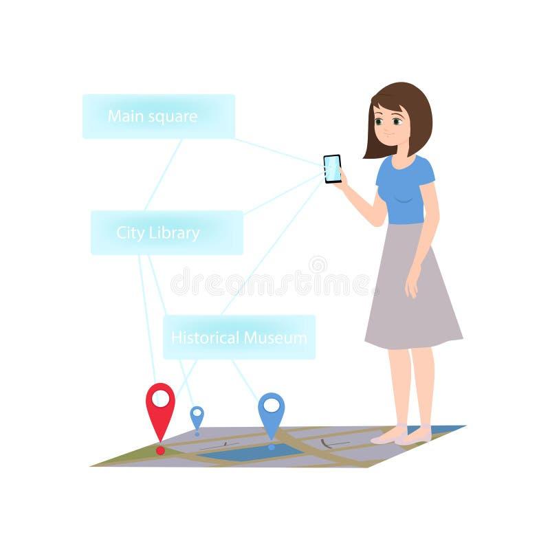 Smartphone da tomada da menina que cidade da realidade virtual da mostra ilustração royalty free